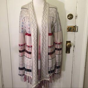 Billabong designer closet fringe pattern cardigan